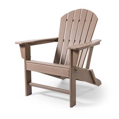 Tan Plastic Outdoor Patio Folding Adirondack Chair