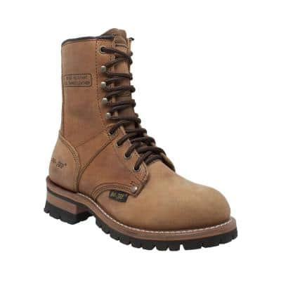 """Women's Crazy Horse 9"""" Logger Boot - Steel Toe - Brown Size 10(M)"""