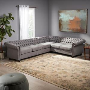 Amberside 3-Piece Dark Grey Fabric 6-Seater Sectional