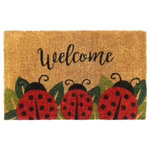 Natural 18 in. x 30 in. Ladybug Coir Doormat