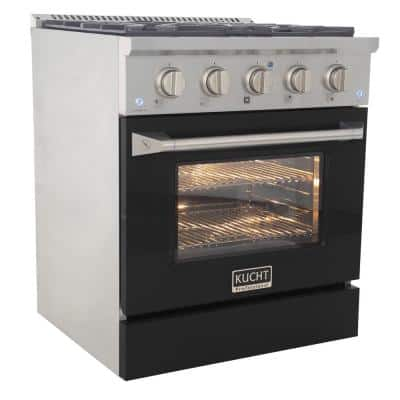 Pro-Style 30 in. 4.2 cu. ft. Propane Gas Range with Convection Oven in Stainless Steel in Black Oven Door