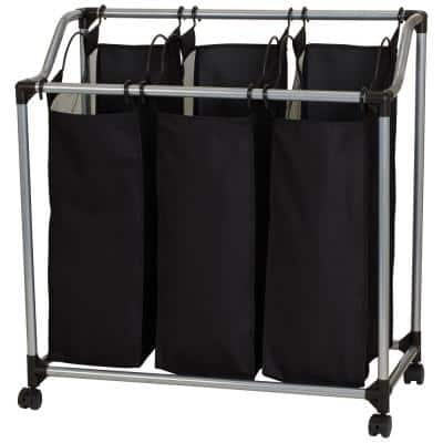Silver Black Metal and Polyester Laundry Hamper Sorter with 3 Vented Bags