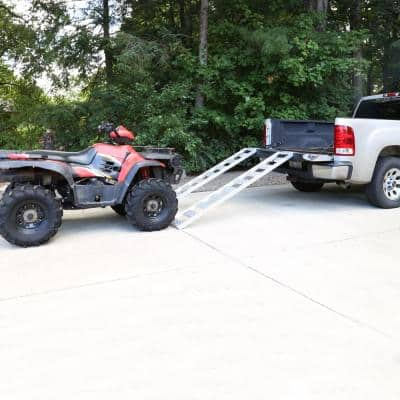 12 in. W x 78 in. L 1250 lb. Capacity Aluminum Straight Fixed Truck Loading Ramp with Treads (Includes 2 Ramps)