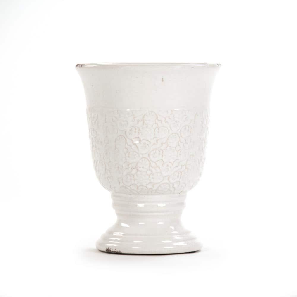 Zentique Distressed White Large Decorative Flower Vase 6769l A369 The Home Depot