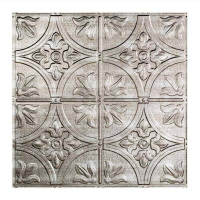 Traditional #2 2 ft. x 2 ft. Crosshatch Silver Lay-In Vinyl Ceiling Tile ( 20 sq.ft. )