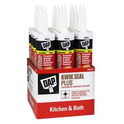 Kwik Seal Plus 10.1 oz. White Premium Kitchen and Bath Siliconized Caulk (12-Pack)