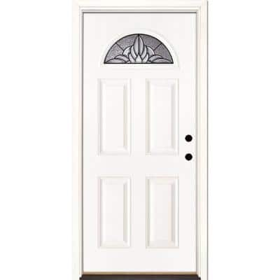 37.5 in. x 81.625 in. Sapphire Patina Fan Lite Unfinished Smooth Left-Hand Inswing Fiberglass Prehung Front Door