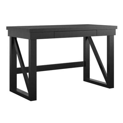 Caryle 47.5 in. Rectangle Black MDF Computer Desk with Drawer