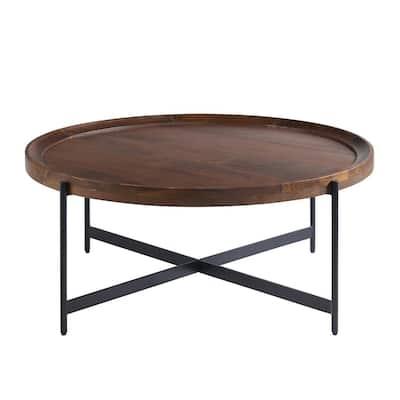 Brookline 42 in. Medium Chestnut 18 in. H Round Wood Coffee Table