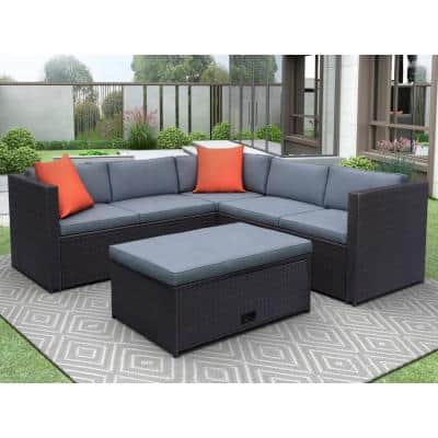Brown wicker 4-Piece Cushioned Outdoor Patio PE Rattan Furniture Set Sectional Garden Sofa with Grey cushion