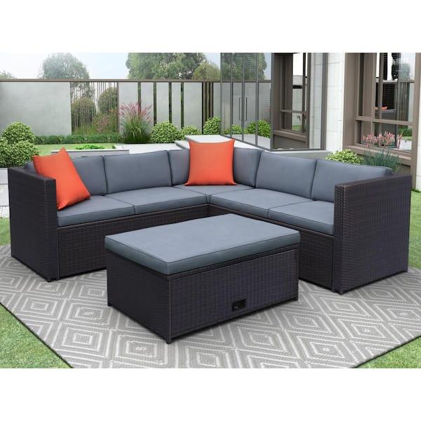 Mondawe Brown Wicker 4 Piece Cushioned, Grey Wicker Patio Furniture Set