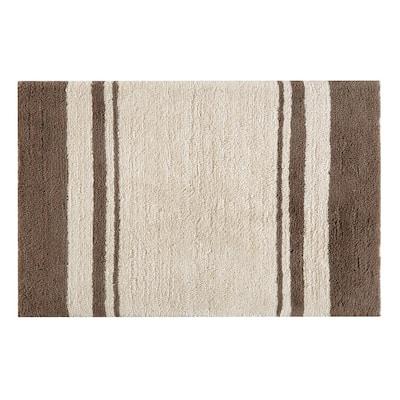 Downton Beige 21 in. x 34 in. Stripe Cotton Bath Mat