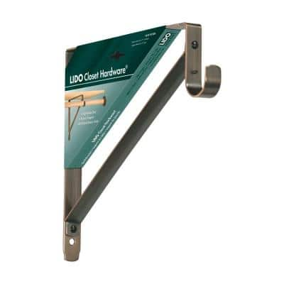 12 in. x 11 in. Copper Oil-Rubbed Bronze Heavy-Duty Rod and Shelf Bracket