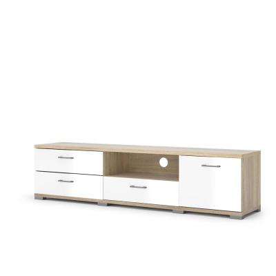 Homeline 74 in. Oak and White Gloss Engineered Wood TV Stand with 3 Drawer Fits TVs Up to 73 in. with Storage Doors