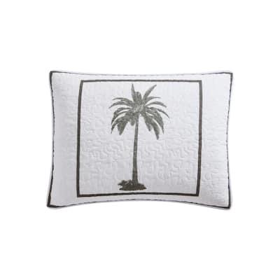 Palm Island 1-Piece Gray Cotton King Sham