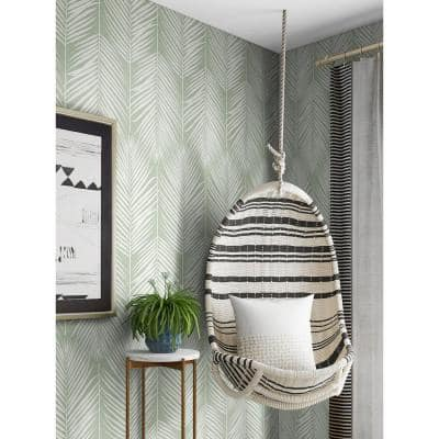 Palm Silhouette Pastel Green Coastal 20.5 in. x 18 ft. Peel and Stick Wallpaper