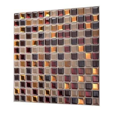 Square Maple 12 in. W x 12 in. H Peel and Stick Decorative Mosaic Wall Tile Backsplash (5-Tiles)