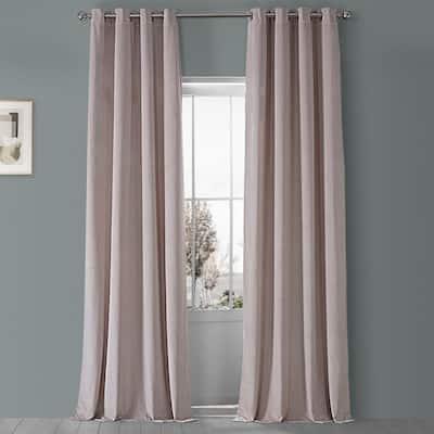 Ballet Pink Velvet Rod Pocket Blackout Curtain - 50 in. W x 84 in. L