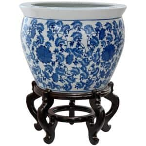 14 in. Floral Blue and White Porcelain Fishbowl