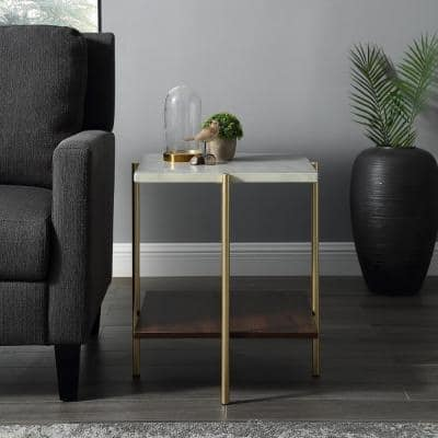 Mid Century Modern Square Side Table - Faux White Marble/Dark Walnut/Gold