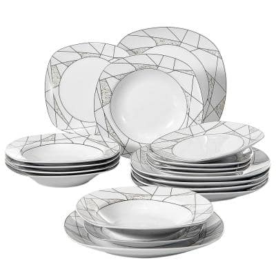18-Piece White Pattern Porcelain Dinnerware Set Plates Set for Salad Dessert and Soup (Service for 6)