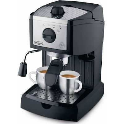 EC155 15-Bar Black and Silver Espresso Machine and Cappuccino Maker