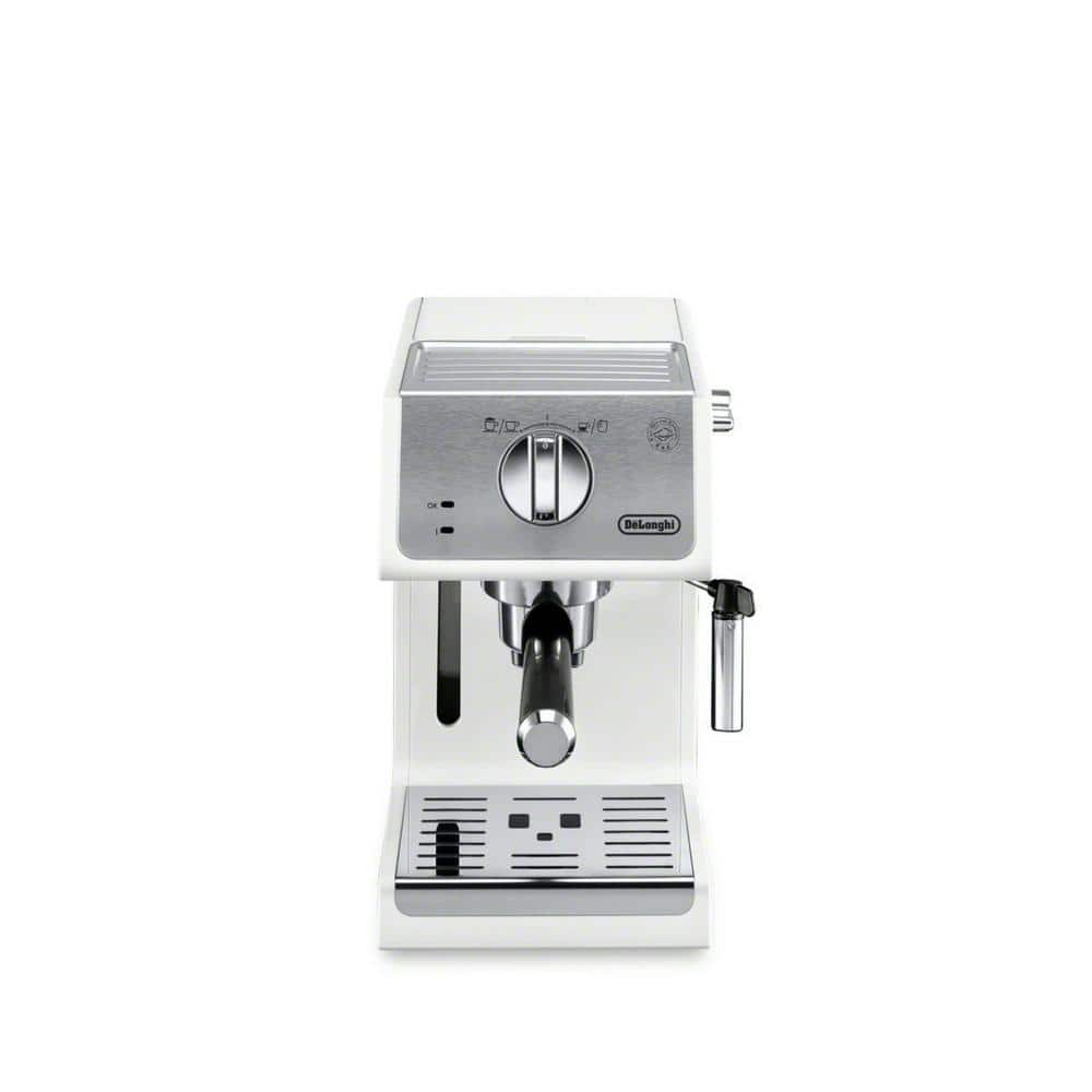 4-Cup 15-Bar White Espresso Machine and Cappuccino Maker with Integrated Frothing Wand