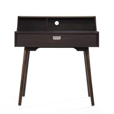 33 in. Rectangular Walnut 1 Drawer Secretary Desk with Built-In Storage