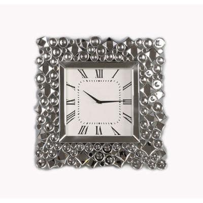 Clear and Black Wood and Mirror Wall Clock with Glass Crystal Gems