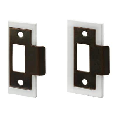 1-3/8 in. and 1-3/4 in, Fix-A-Latch Strike Plate Repair Kit, Stamped Steel, Bronze Plated Finish, White Plastic Base