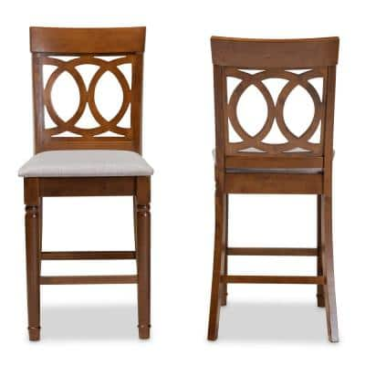 Violet 25 in. Grey and Walnut Pub Stool (Set of 2)