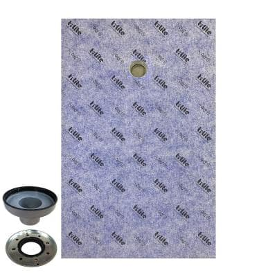 36 in. x 60 in. x 2.25 in. Off-Center Drain Waterproof Shower Pan Underlayment with Drain Adapter (Cover Not Included)