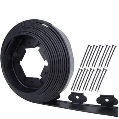 100 ft. x 2 in. Black PE Plastic Landscape Garden Fence Kit No-Dig with (20-Spikes)