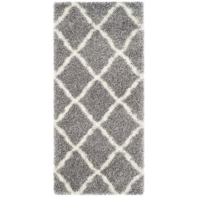 Montreal Shag Gray/Ivory 2 ft. x 5 ft. Diamonds Geometric Runner Rug