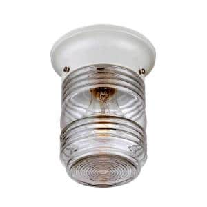 Builder's Choice Collection Ceiling-Mount 1-Light White Outdoor Light Fixture