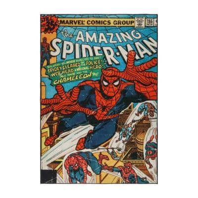 Spider-Man Comic Multi-Colored 5 ft. x 7 ft. Indoor Polyester Area Rug