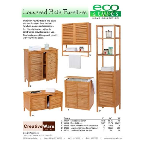 Creativeware 26 75 In W X 13 75 In D X 29 75 In H Ecostyles Louvered Bamboo Floor Cabinet 34058 The Home Depot