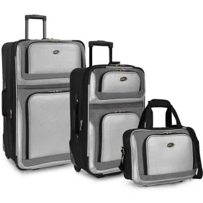 New Yorker 3-Piece Silver Gray Rolling Luggage Set (Large and Small Suitcases and Tote Bag),