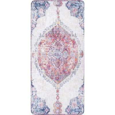 Vintage Medallion Anti Fatigue Kitchen or Laundry Room Rust 18 in. x 30 in. Indoor Comfort Mat