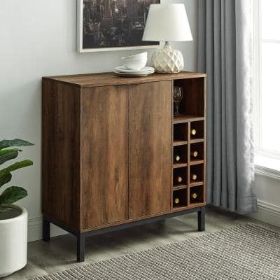 Reclaimed Barnwood Modern Bar Cabinet with Wine Storage