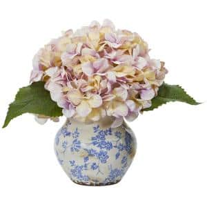 Hydrangea Artificial Arrangement in Floral Vase
