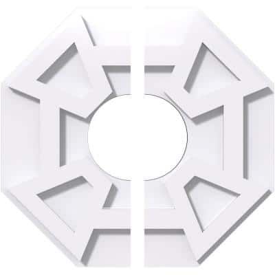 1 in. P X 4 in. C X 12 in. OD X 4 in. ID Logan Architectural Grade PVC Contemporary Ceiling Medallion, Two Piece