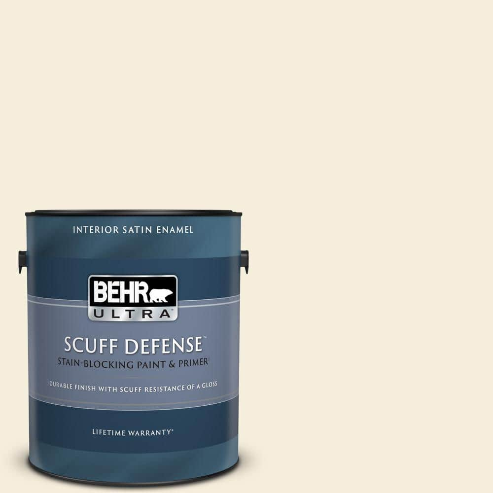 BEHR ULTRA 1 gal. #W-D-300 Eggshell Cream Extra Durable Satin Enamel Interior Paint & Primer