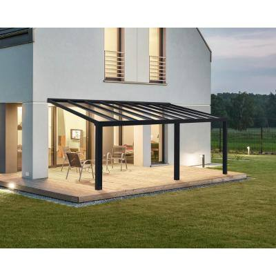Stockholm 11 ft. x 22 ft. Gray/Clear Aluminum Patio Cover