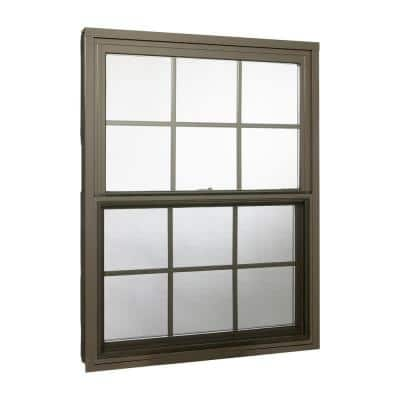 36 in. x 48 in. Double Hung Aluminum Window with Low-E Glass, Grids and Screen, Brown
