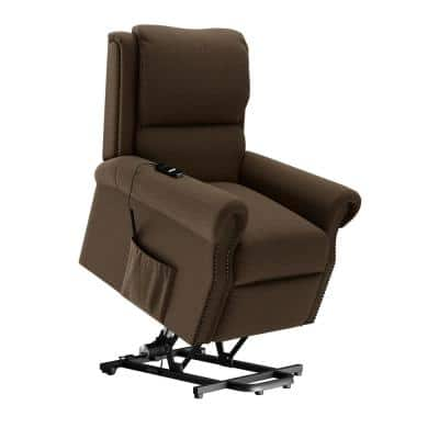 Power Recline and Lift Bustle-Back Chair in Chestnut Brown Chenille