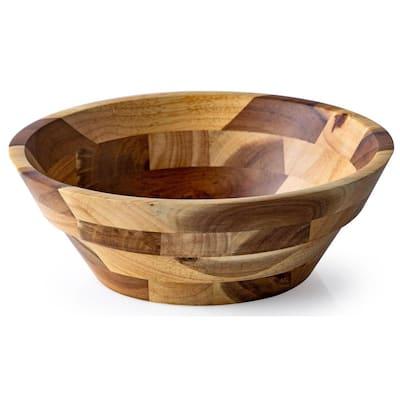 10 in. 62 fl. oz. Rubberwood Serving Bowl