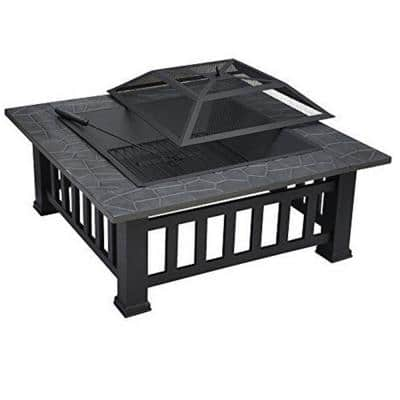 Maxwell 31 in. W x 16 in. H Square Steel Deep Wood Burning Bowl Fire Pit with Cover