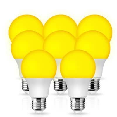 UL Listed 9-Watt, 60-Watt Equivalent A19 LED Bug Light Bulb E26 Base in Yellow-Colored 2100K (8-Pack)