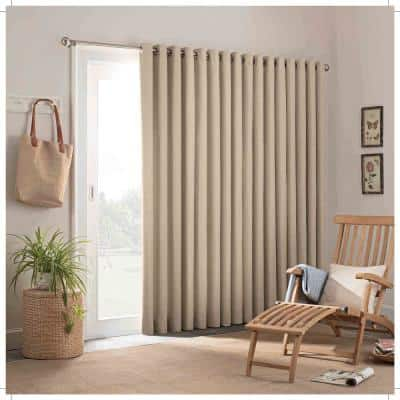 Oatmeal Solid Outdoor Grommet Room Darkening Curtain - 100 in. W x 84 in. L